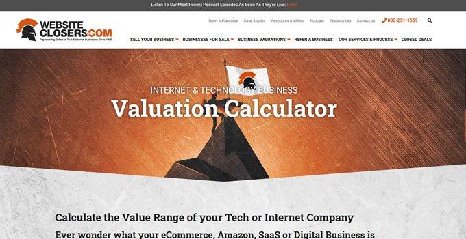 Website Closers valuation calculator