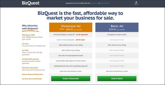 BizQuest fees