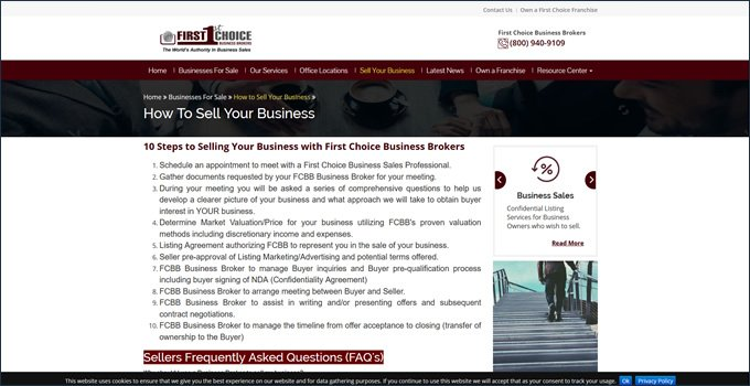 first choice business brokers sales