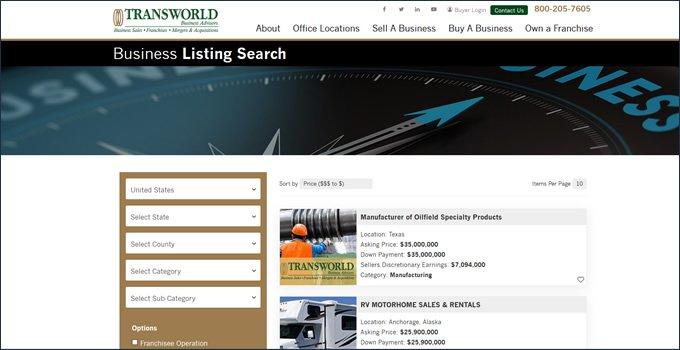 Transworld Business Advisors types of businesses